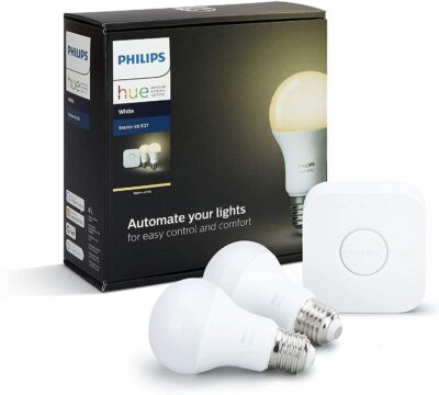 Immagine di Philips Hue Lightning White Starter Kit: Include un Bridge e 2 lampadine intelligenti E27 Bianche
