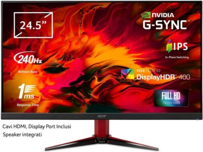 Immagine di Acer Nitro VG252QXbmiipx Monitor Gaming G-SYNC Compatible, 24,5″, Display IPS Full HD, 240 Hz, 1 ms, 16:9, HDMI 2.0, DP 1.2a, Lum 400cd/m2, ZeroFrame, Speaker Integrati, Cavi HDMI, DP Inclusi